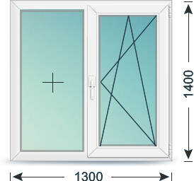 Окно пластиковое - размер в 97 серии
